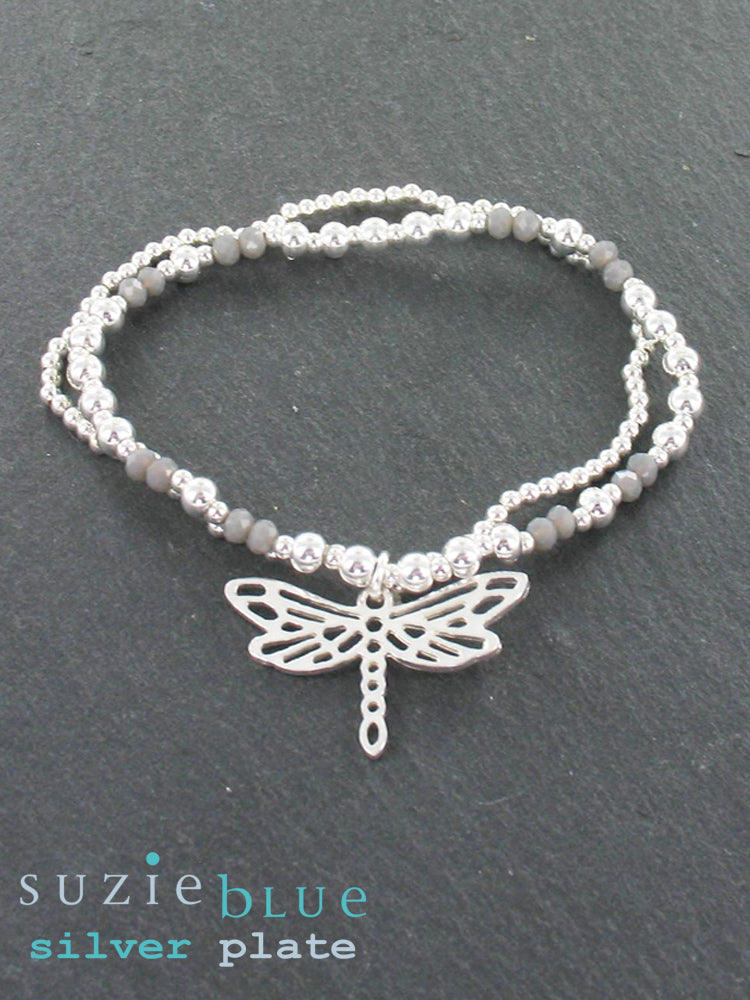 Simple Two-Strand Bracelet with Dragonfly Pendent