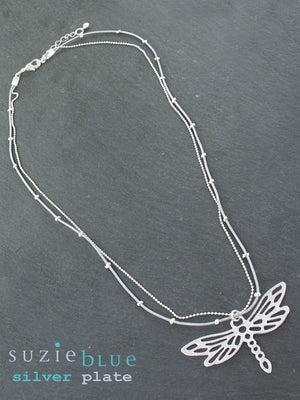 Simple Two-Strand Necklace with Dragonfly Pendent