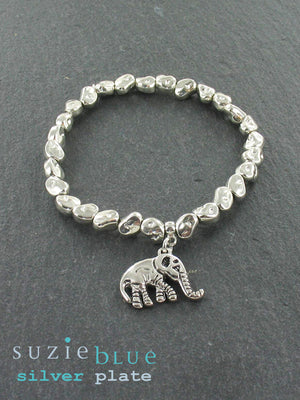 Elasticated Silver-Plated Bracelet with Elephant Charm