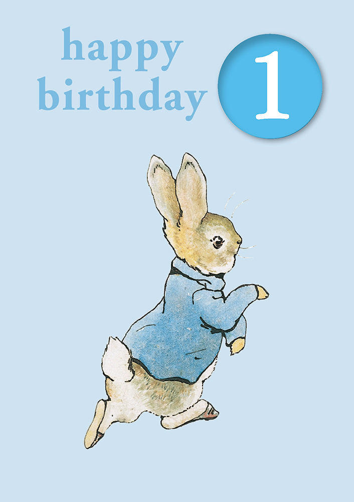 Happy Birthday 1, With Safe Pin Badge, Beatrix Potter Peter Rabbit 1st Birthday Card