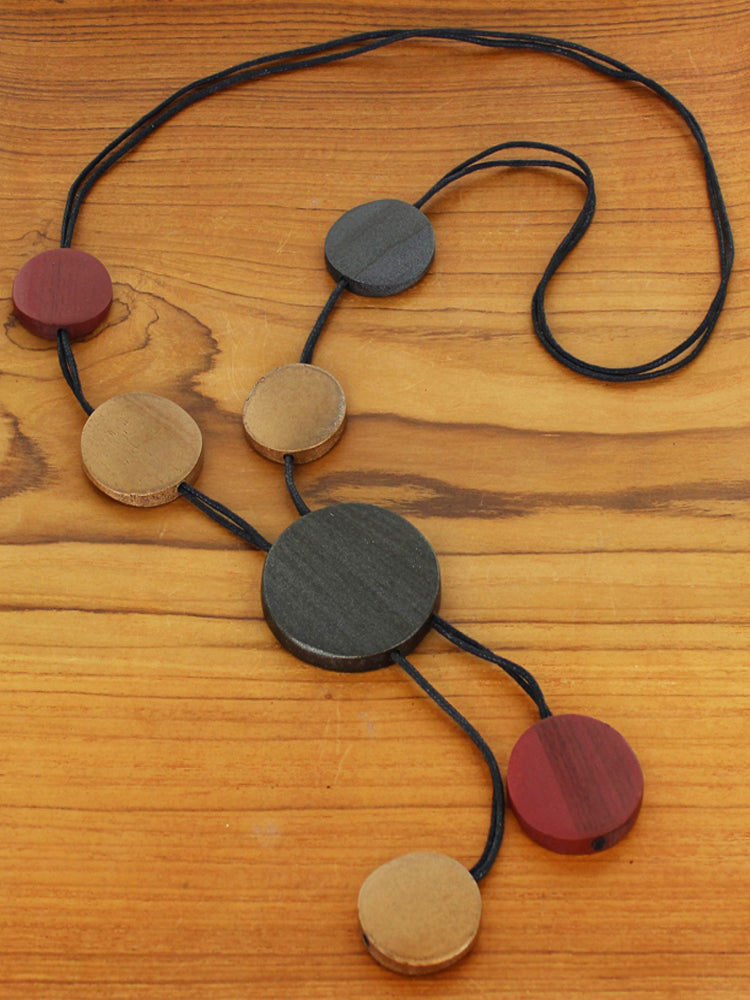 Wooden Disc Lanyard Necklace with Wooden Discs