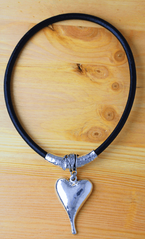 Black Faux Leather Necklace with Magnetic Clasp and Heart Pendant