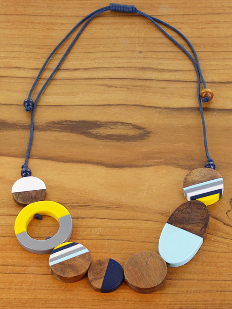 Resin & Wood Mixed Shape Disc Necklace