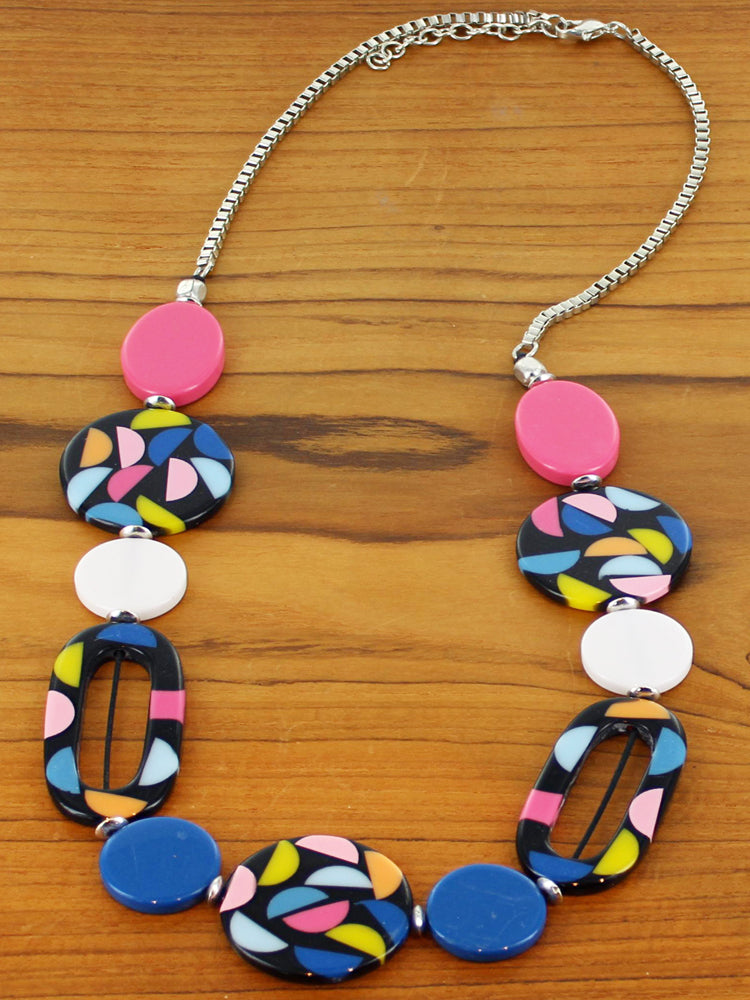 Multi-colour Resin Hoop & Disc Necklace
