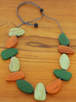 Asymmetric Adjustable Wooden Pebble Necklace