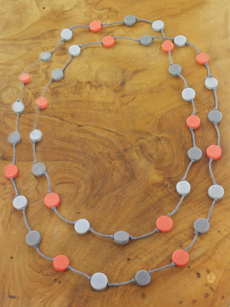 Long Resin Disc Necklace on Grey String