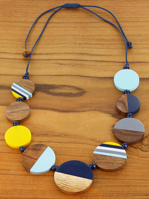Yellow & Blue Resin and Wood Disc Necklace