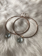 Big Hammered Earrings | Tide Hoops with aquamarine | Wild Tide Collective Jewelry