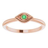 Wild Tide| Curated Collection:  Rose Gold stack ring with green emerald eye. seeker_evil_eye_ring | Wild_Tide_Jewelry