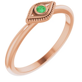 Wild Tide Rose Gold stack ring with emerald eye. seeker_evil_eye_ring | Wild_Tide_Jewelry