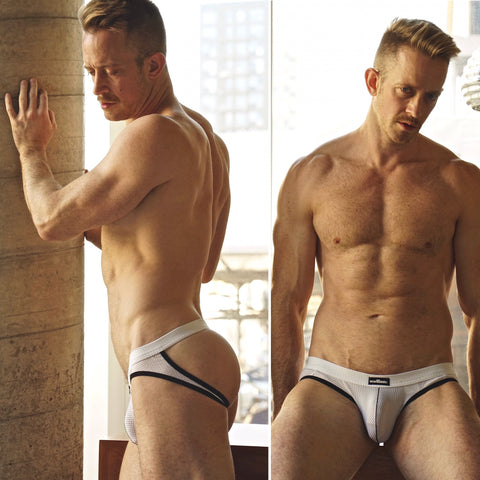 wearMEunder limited edition underwear for men @damianeff in the ADRIAN white jock shot by @kj.heath