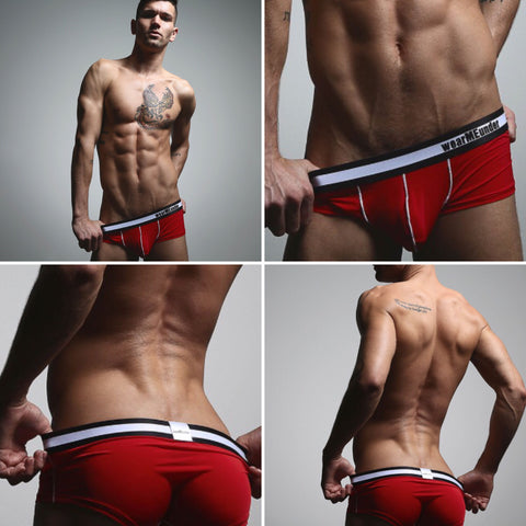 wearMEunder limited edition underwear for men the TREVOR brief trunk hybrid in red
