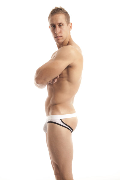 The ADRIAN White JockBrief by wearMEunder Limited Edition underwear for Men, a hybrid between a jockstrap and a brief