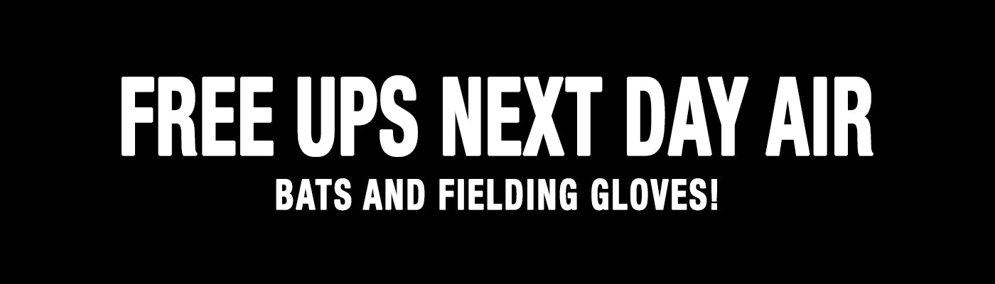 Free UPS Next Day Air Shipping on Baseball and Softball Bats and Gloves