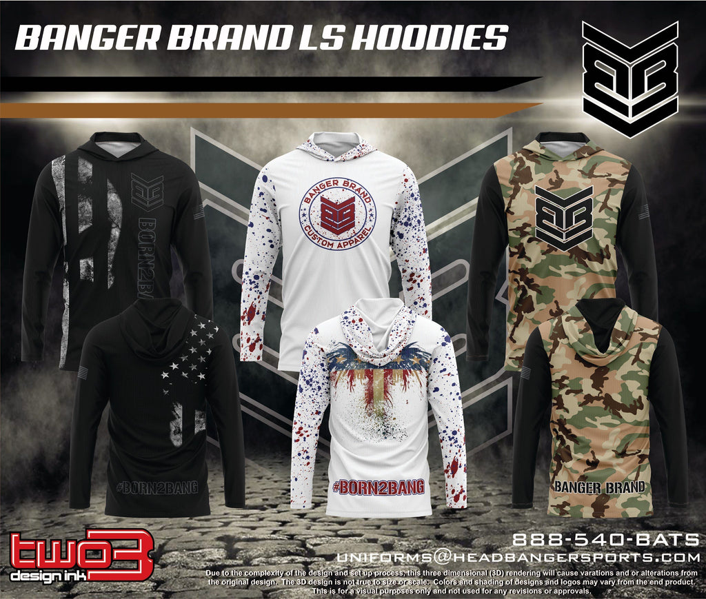 Banger Brand Exclusive Long Sleeve Lightweight Hoodies: Patriotic #Born2Bang