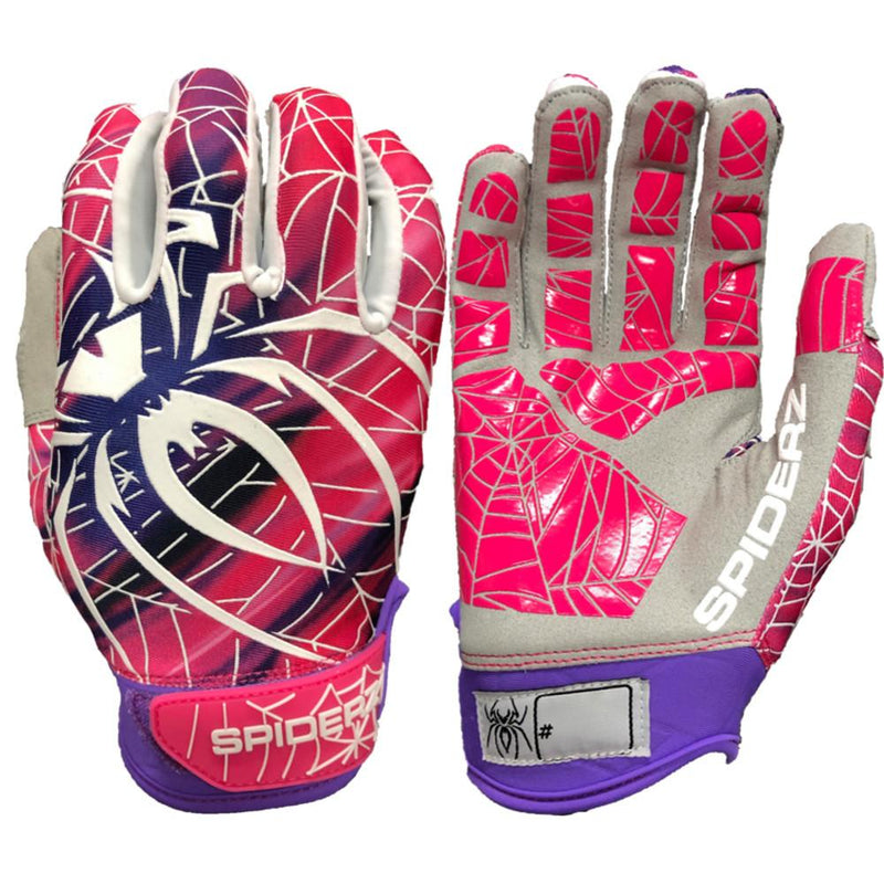 2019 Spiderz LITE Batting Gloves: Purple and Pink Blur