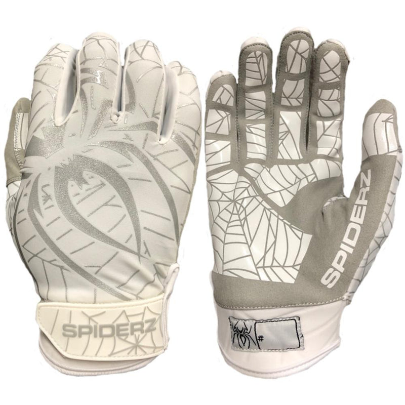 Spiderz White and Silver Batting Gloves - Spiderz Lite
