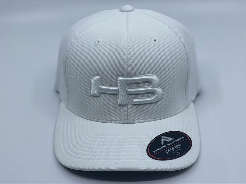 HB Sports Exclusive Pacific 498F Performance Flexfit Hat: Whiteout