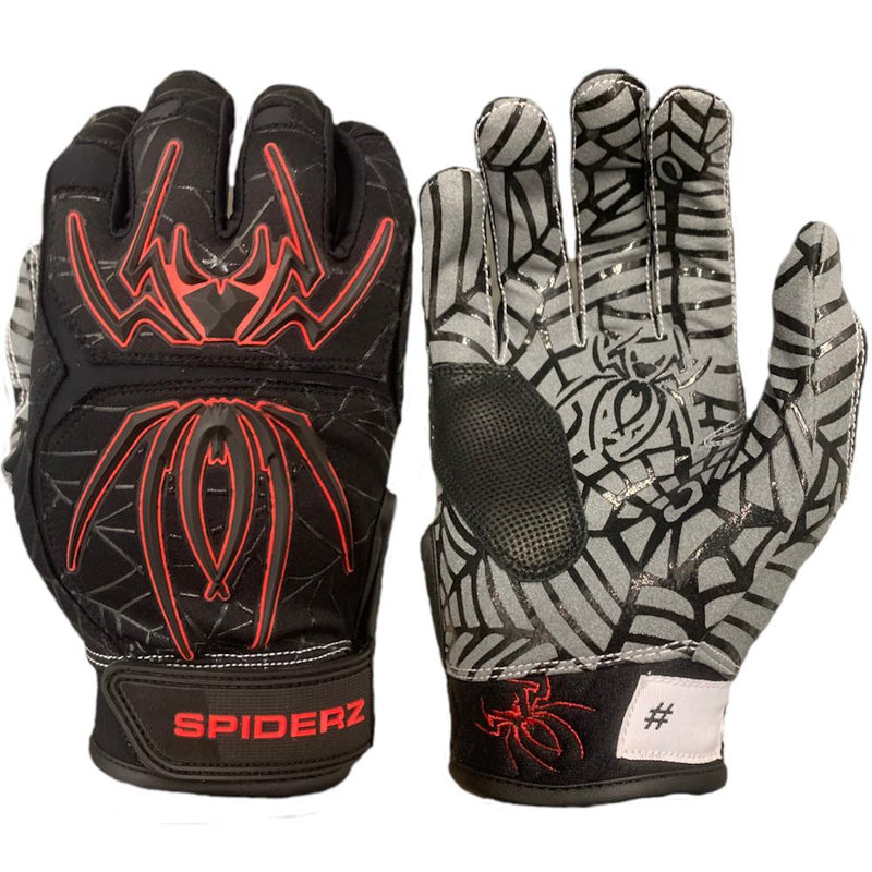 2020 Spiderz HYBRID Youth and Adult Batting Gloves: Black/Red