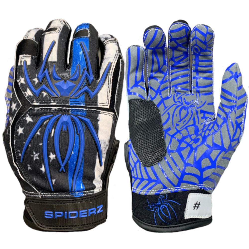 2020 Spiderz HYBRID Batting Gloves: Blue Line