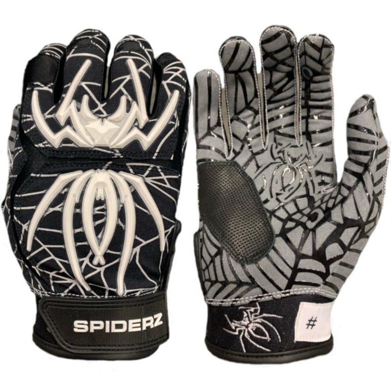2020 Spiderz HYBRID Batting Gloves: Black/White/Silver