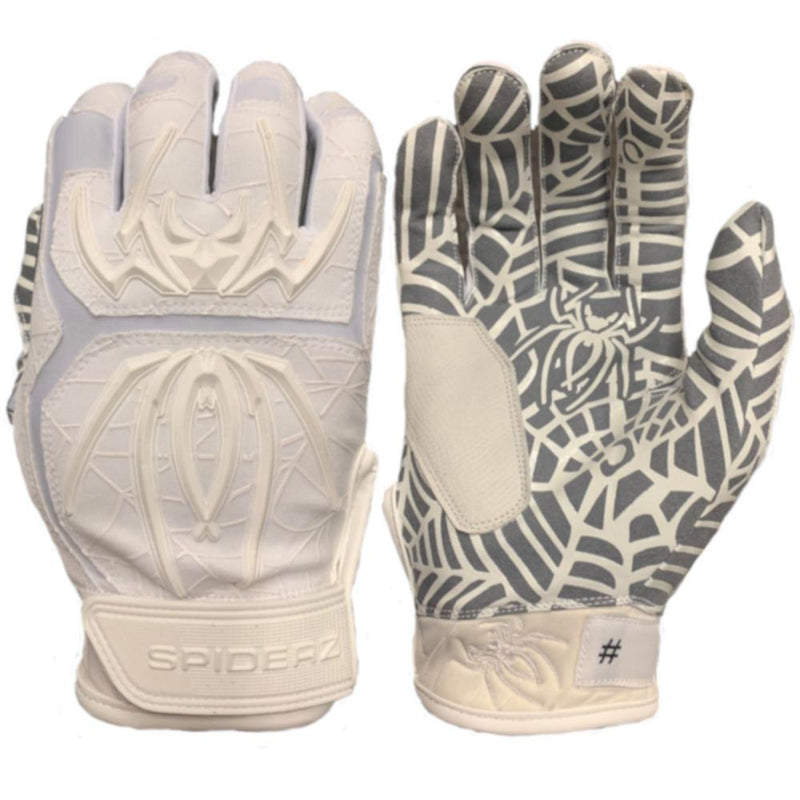 2020 Spiderz HYBRID Batting Gloves: White/White