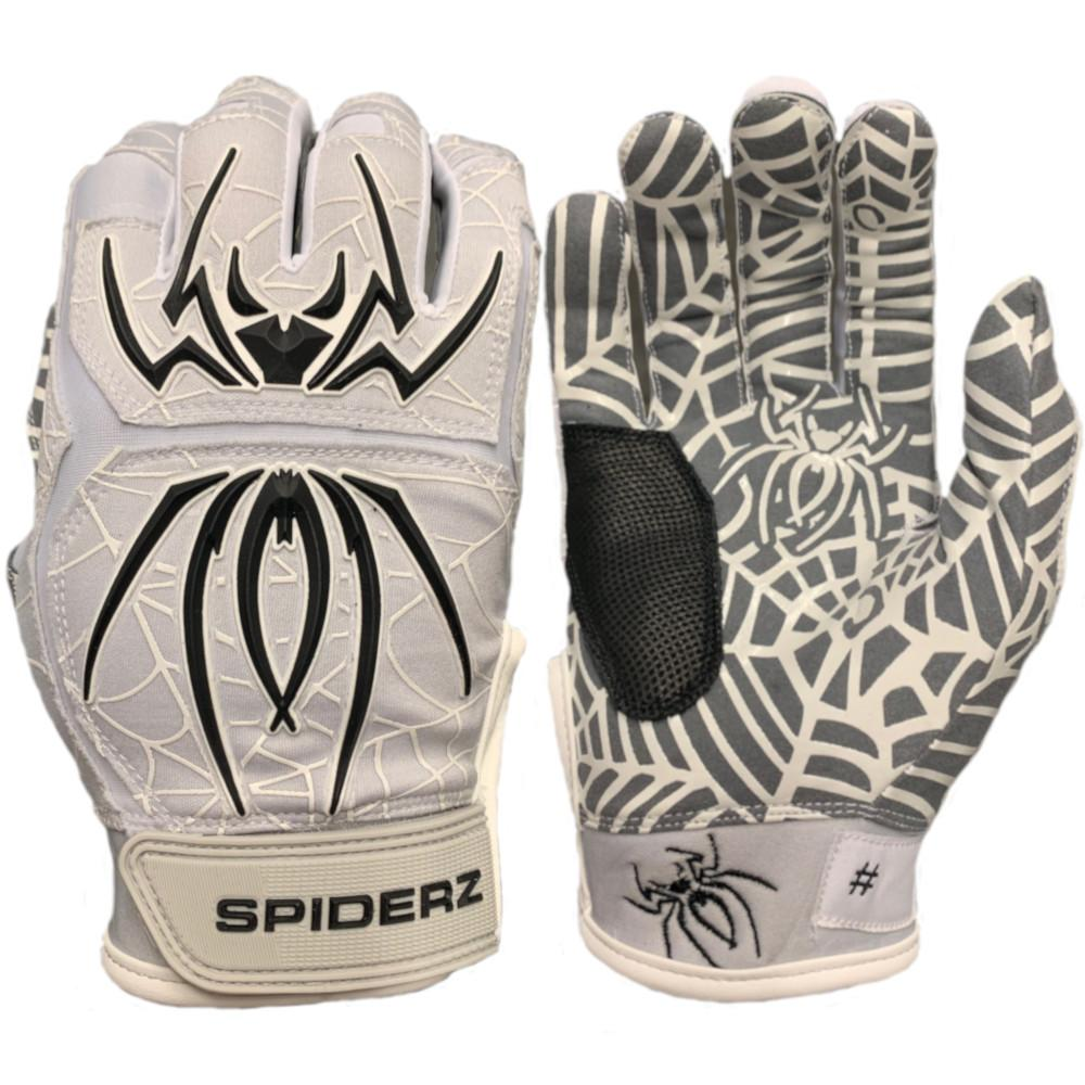 2020 Spiderz HYBRID Batting Gloves: Grey/Black/White