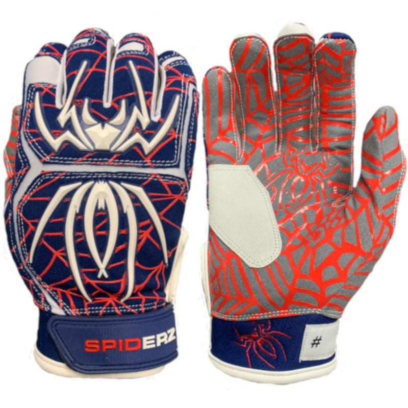 2020 Spiderz HYBRID Batting Gloves: Navy/Red/White