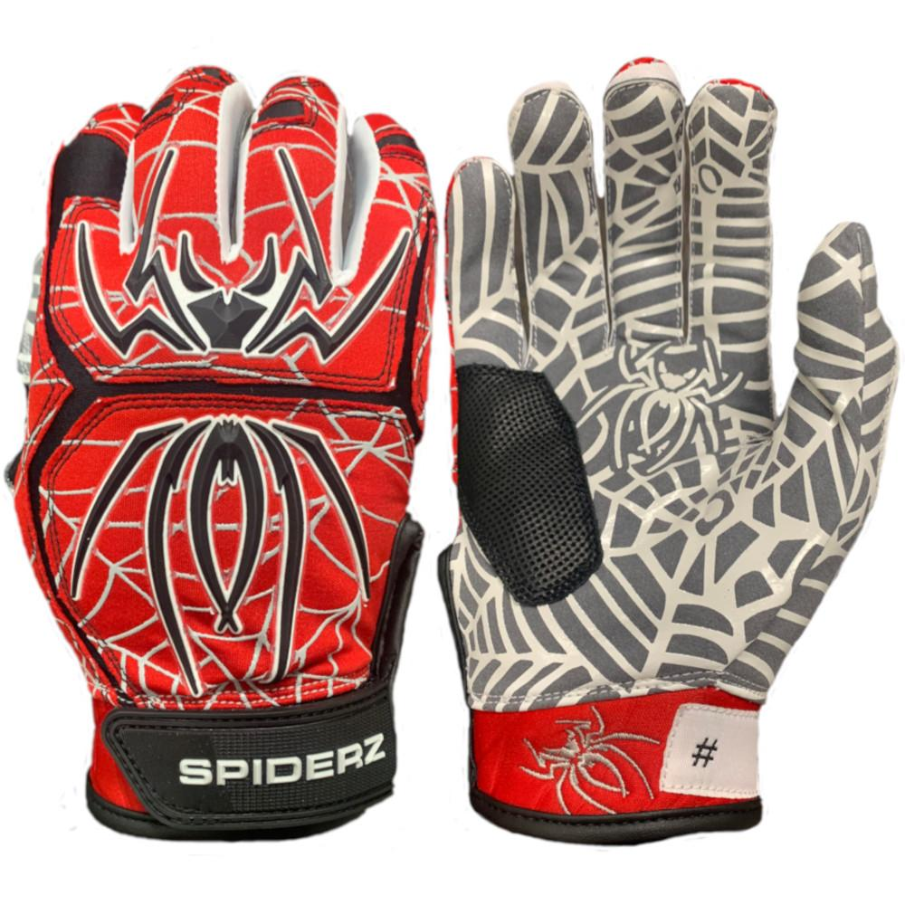 2020 Spiderz HYBRID Batting Gloves: Red/Black/Silver