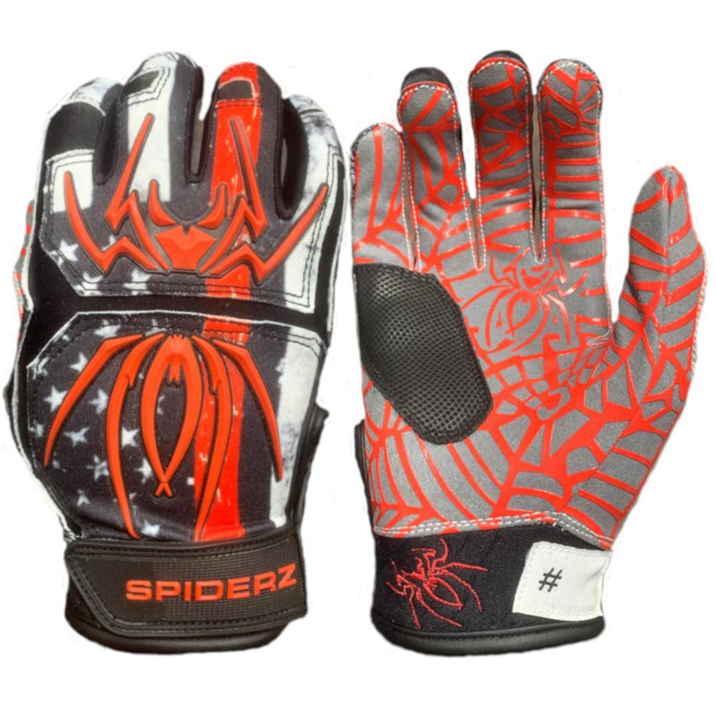 2020 Spiderz HYBRID Batting Gloves: Red Line