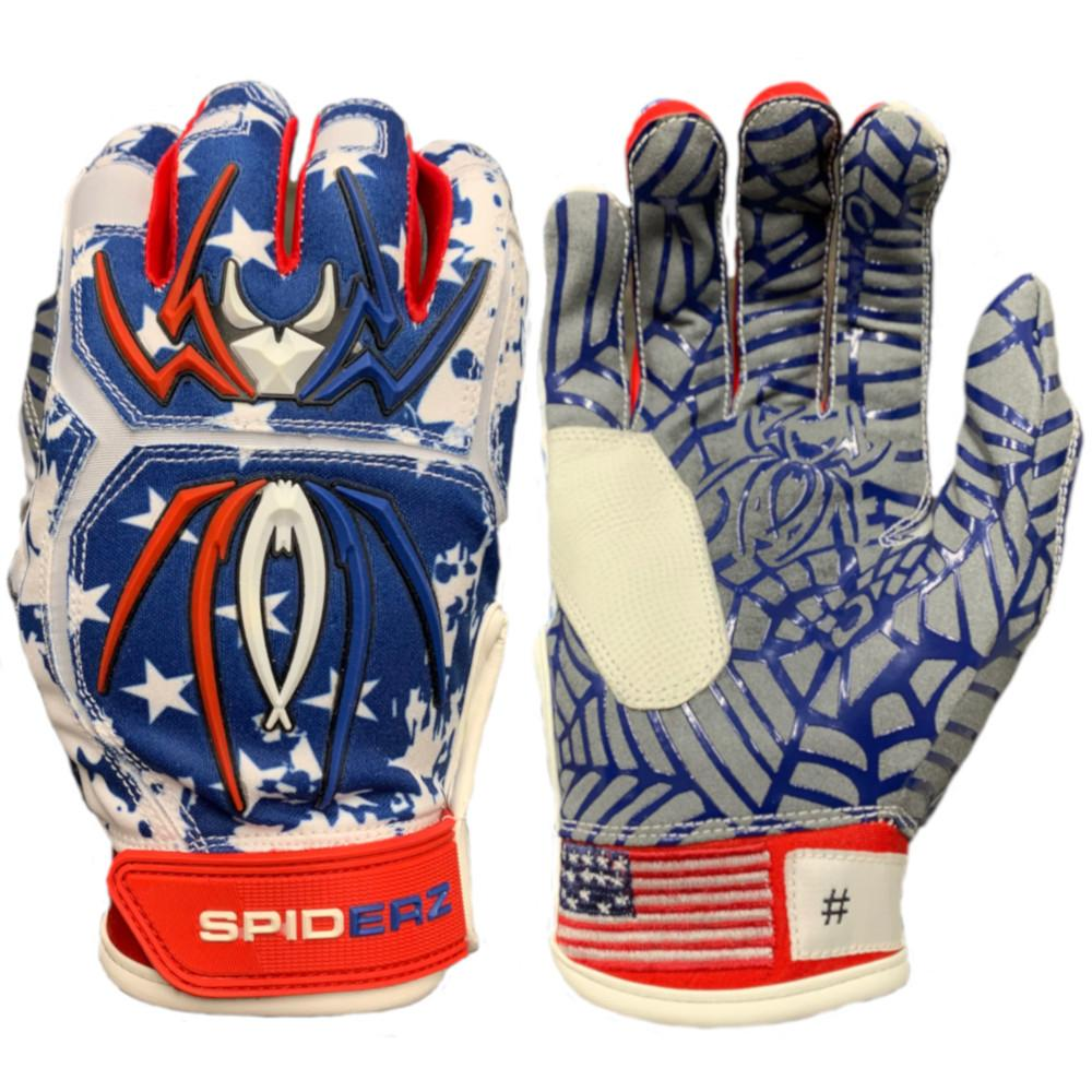 2020 Spiderz HYBRID Batting Gloves: USA Flag