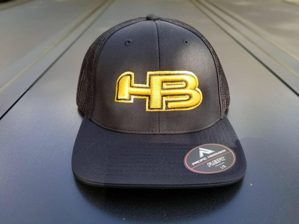Black and Yellow HB Sports Pacific 404M Baseball and Softball Hat at Headbangersports.com