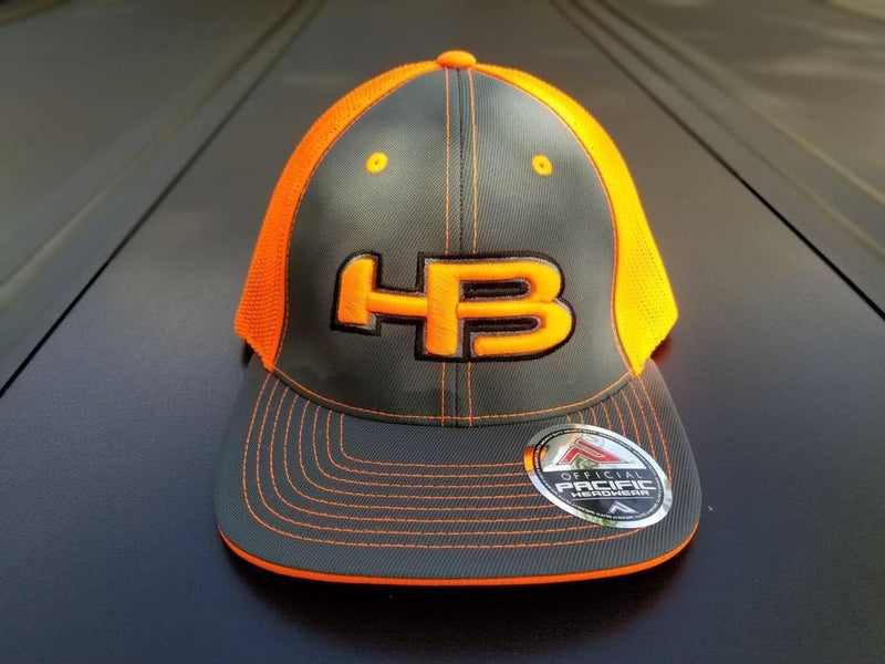 Neon Orange and Charcoal Pacific 404M HB Logo Baseball and Softball Safety Colored Hat at Headbangersports.com