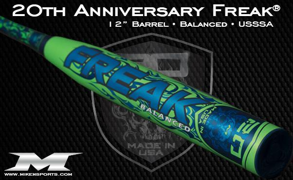 "2018 Miken Freak 20th Anniversary 12"" Balanced USSSA Slowpitch Softball Bat at headbangersports.com"