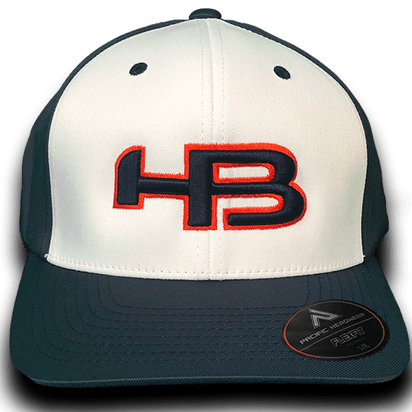 HB Sports Exclusive Pacific 476F Performance Flex Fit Hat: Navy and Orange