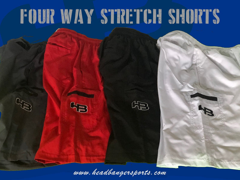 HB Sports Four Way Stretch Shorts at headbangersports.com