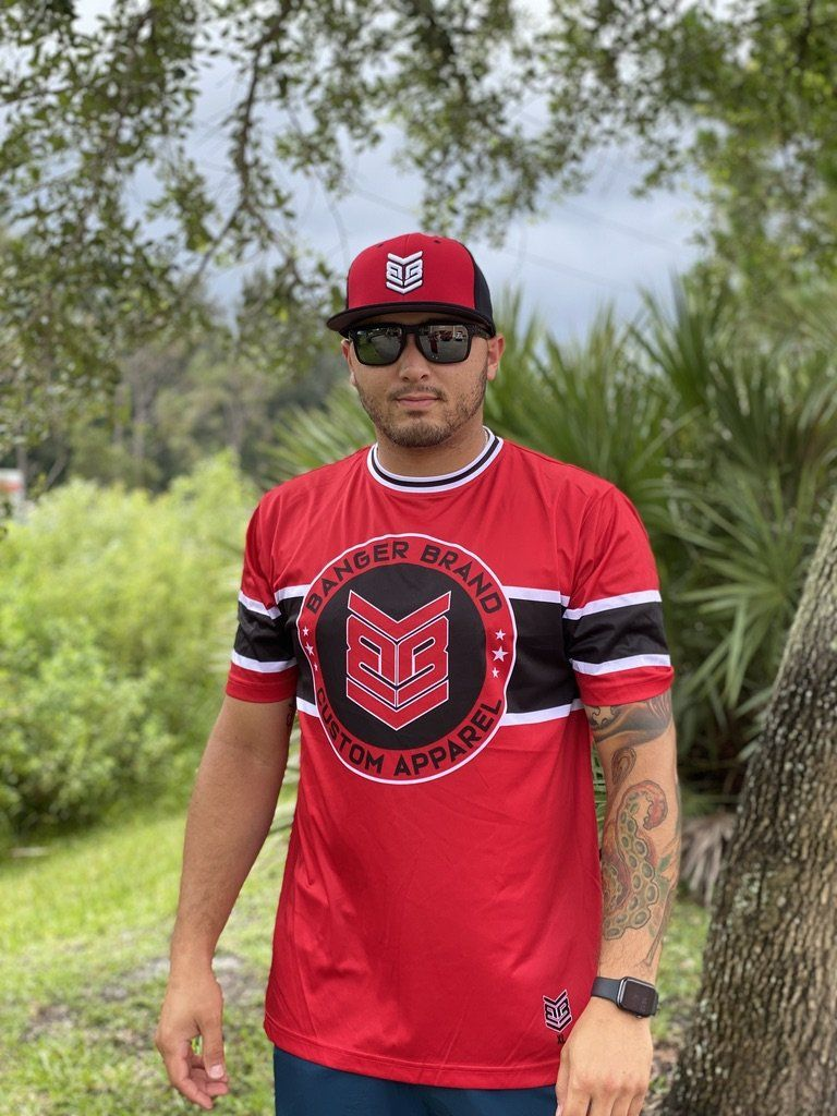 Banger Brand Exclusive Short Sleeve Circle Logo Jersey: Bright Red