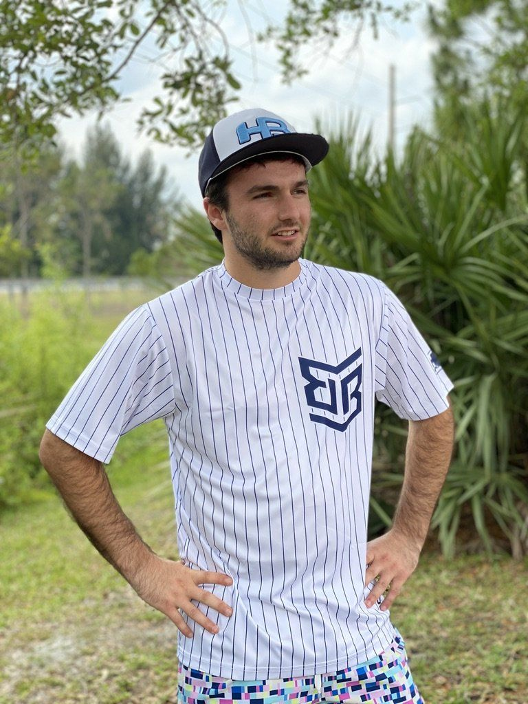 Banger Brand Exclusive White Pinstriped Short Sleeve Jersey