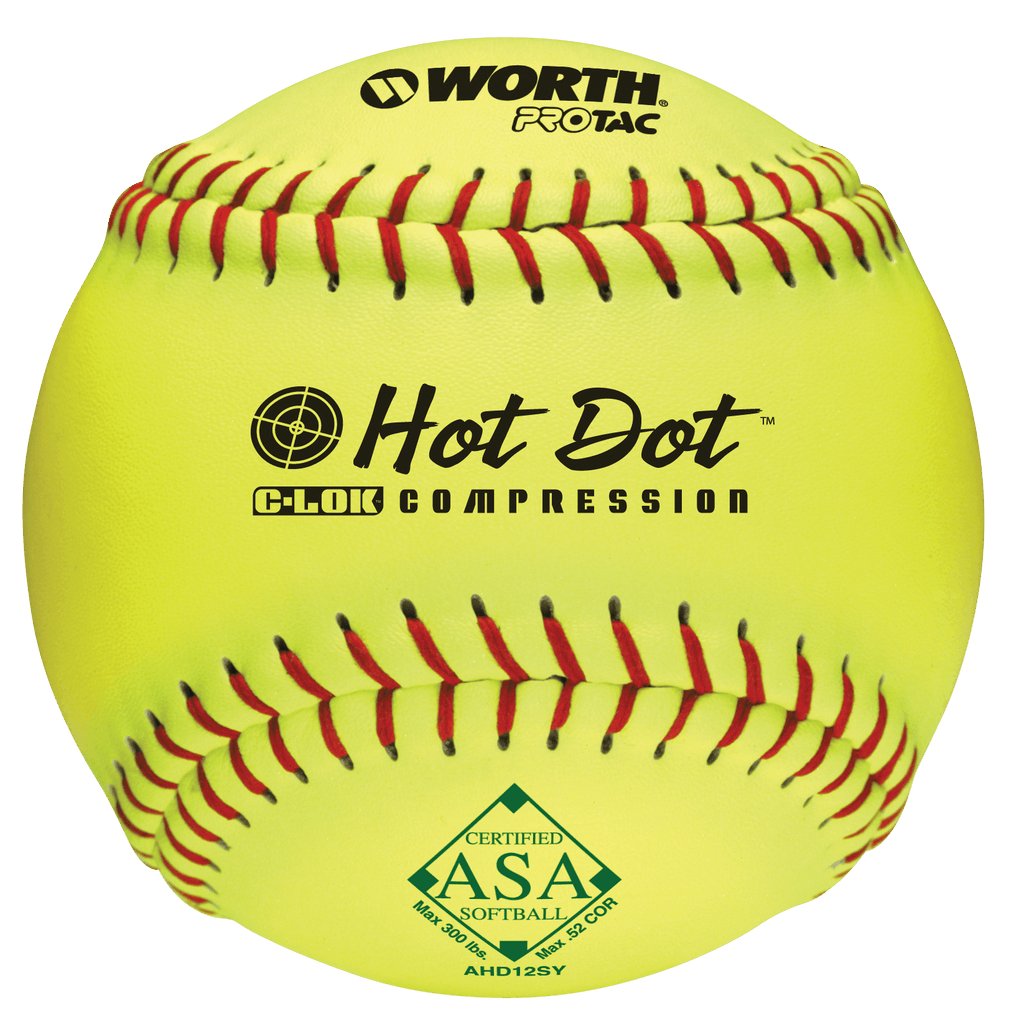 "Worth 12"" ASA Hot Dot Slowpitch Softball (Dozen): AHD12SY at headbangersports.com"