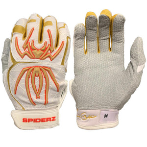 2020 Spiderz Endite Batting Gloves: COLLING Signature Model White/Gold