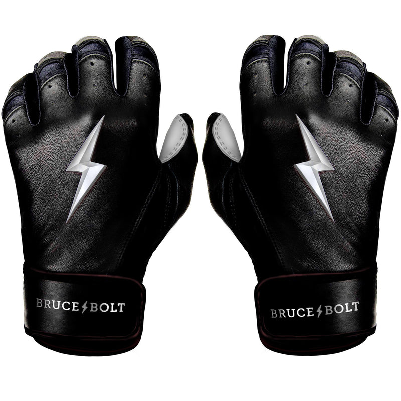 Bruce Bolt PREMIUM PRO Chrome Series Short Cuff Batting Gloves: Black
