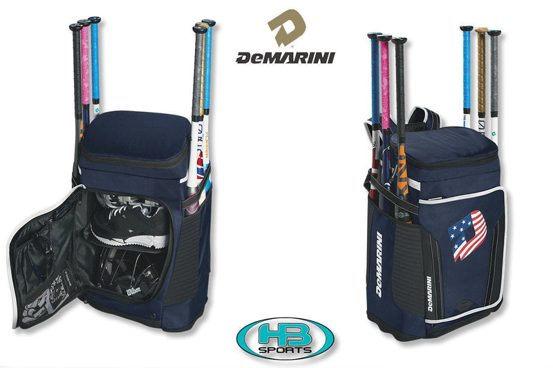 Navy Blue with American Flag DeMarini Special Ops Baseball and Softball Backpack at Headbangersports.com