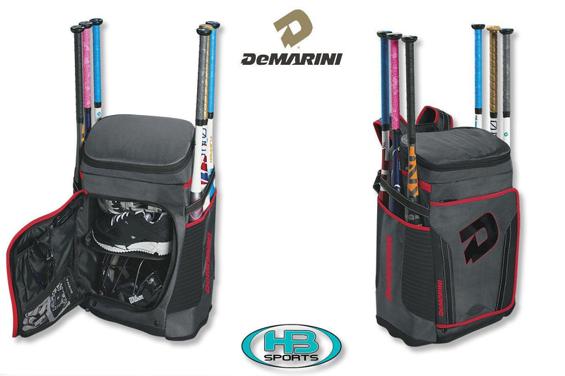 Charcoal and Red DeMarini Special Ops Baseball and Softball Backpack at Headbangersports.com