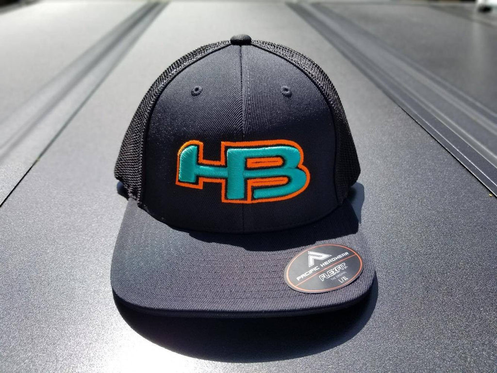 HB LOGO 404M FITTED HAT: Black With Teal and Orange