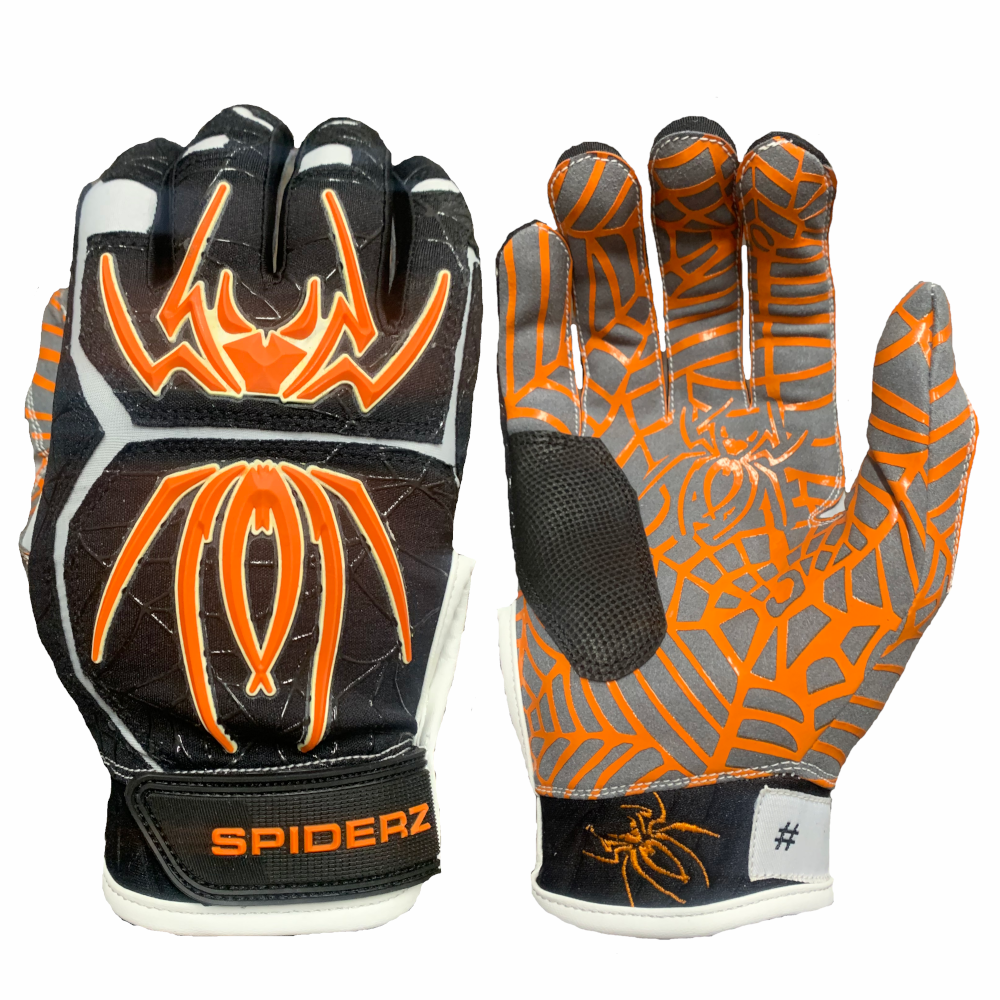 2020 Spiderz HYBRID Batting Gloves: Black/Orange