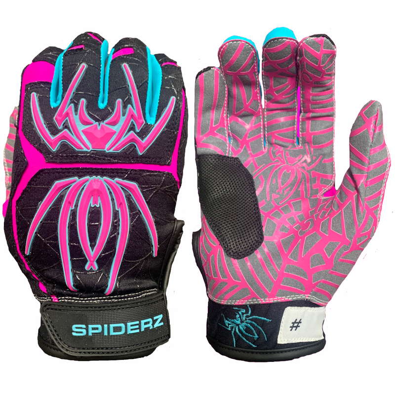2020 Spiderz HYBRID Batting Gloves: Black Vice