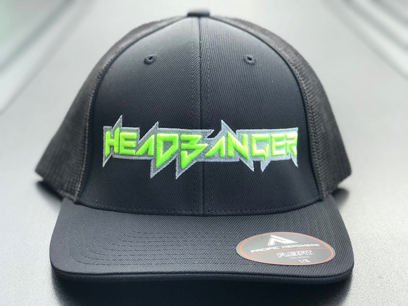 Headbanger LOGO 404M FITTED HAT: Black with Optic Yellow