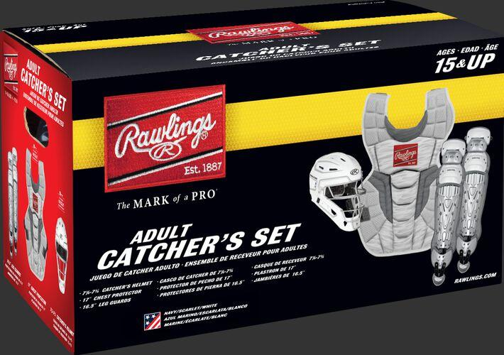 Rawlings Intermediate VELO 2.0 Catcher's Gear Box Set: Red/White/Blue (Stars and Stripes)
