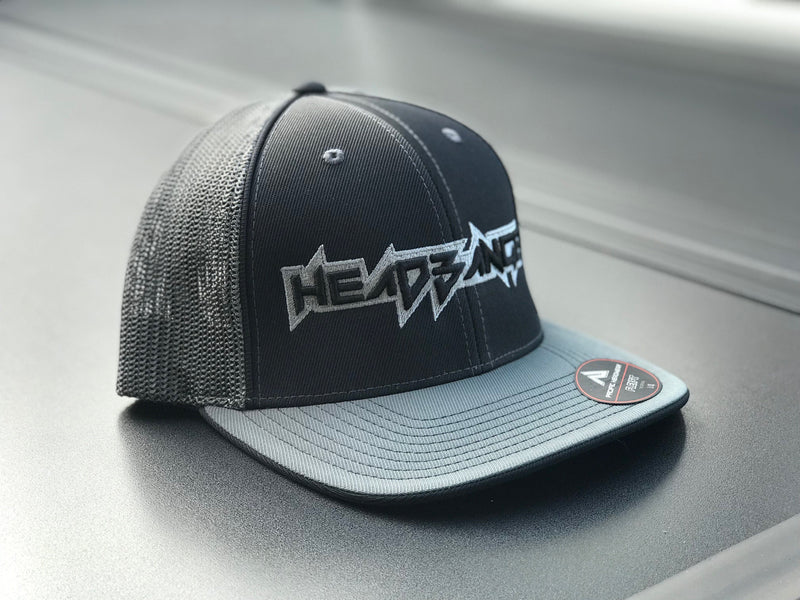 HEADBANGER LOGO 404M FITTED HAT: Clean Charcoal