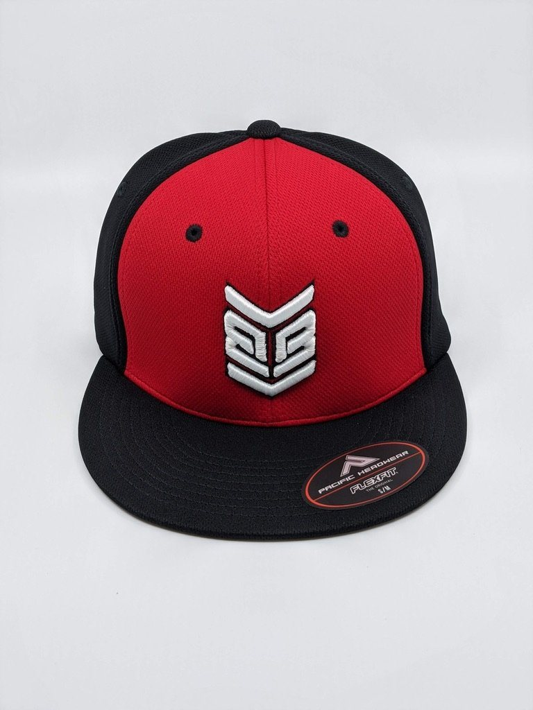 Banger Brand Exclusive Pacific ES342 Premium P-Tec Performance Flexfit Hat: Black / Red